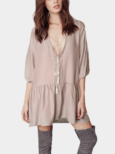 Yoins Boho Self-tie 3/4 Length Sleeve Shift Dress