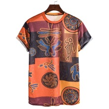 Men Patchwork Print Round Neck Tee