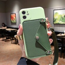 1pc Chain Strap Phone Case With Card Holder