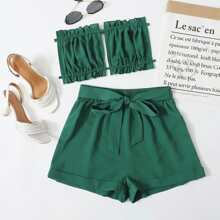 Frill Trim Tie Back Tube Top & Self Tie Shorts