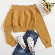Einfarbiger schulterfreier Pullover
