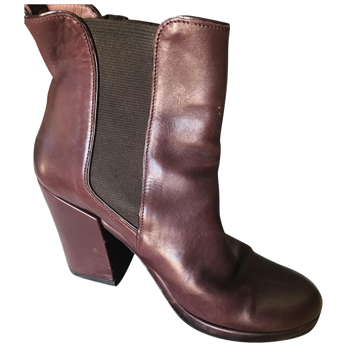 Robert Clergerie - Boots   pour femme en cuir - bordeaux