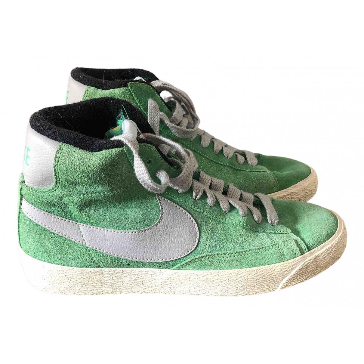 Nike Blazer Green Suede Trainers for Women 40 EU