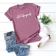 T-Shirt mit ECG & Buchstaben Grafik