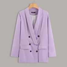 Plus Solid Double Breasted Blazer
