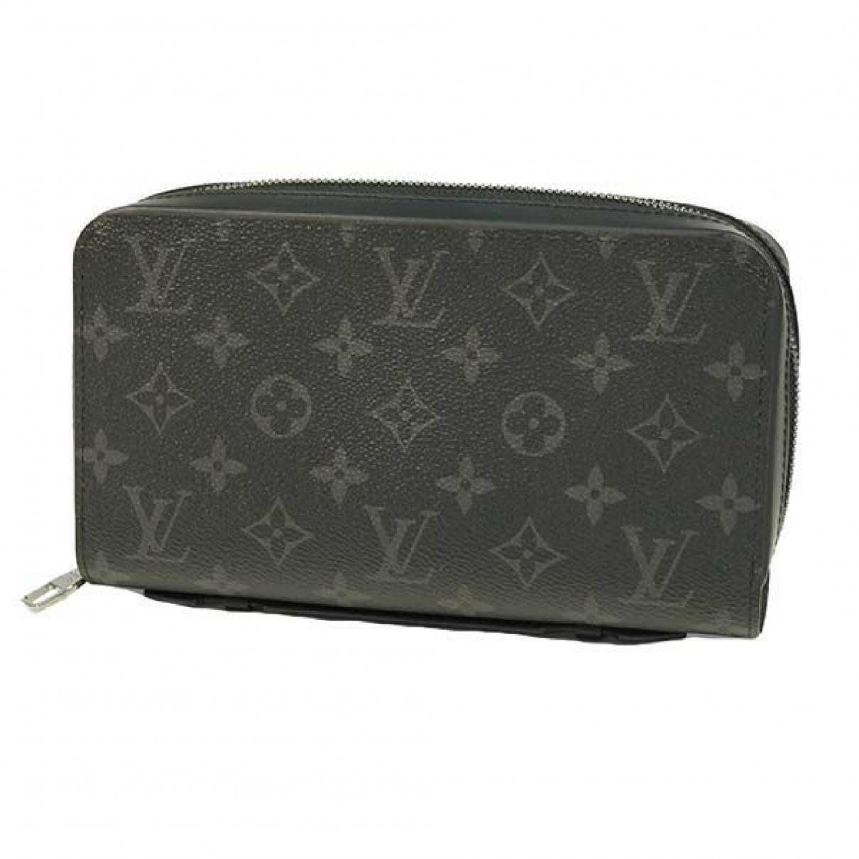Louis Vuitton \N Portemonnaie in  Grau Leinen