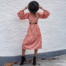 Allover Floral Print Lantern Sleeve Dress