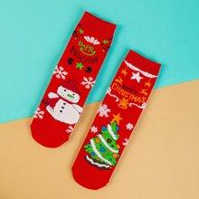 2 pares calcetines con estampado de letra de Navidad