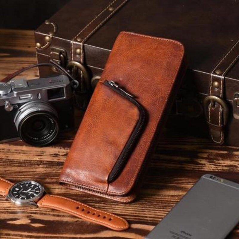 Men PU Leather Multi-slots Retro Large Capacity Phone Holder Coin Purse Wallet