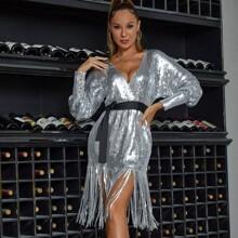 DKRX Surplice Neck Self Belted Fringe Trim Sequin Dress