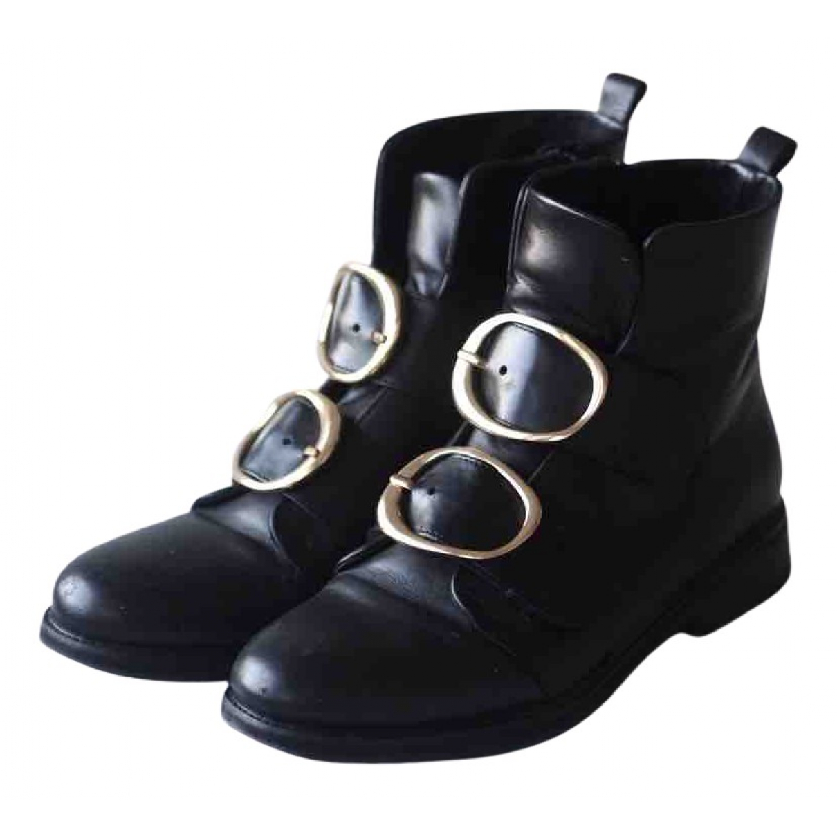 Maje N Black Leather Ankle boots for Women 40 EU
