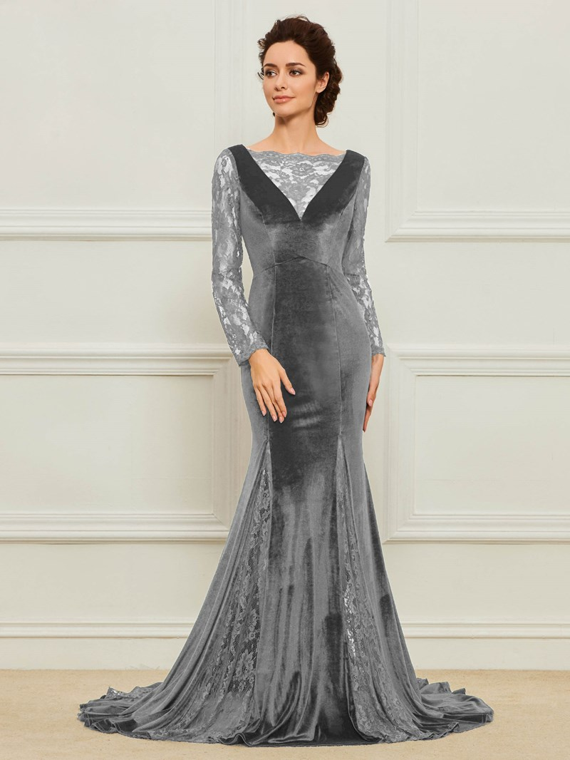 Ericdress Velvet Lace Long Sleeves Mother of the Bride Dress