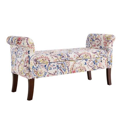 BM144296 Wooden Bench with Rolled Armrest and Hidden Storage