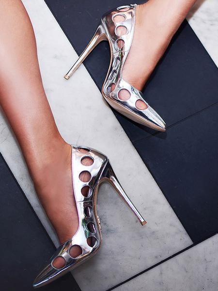 Milanoo Zapatos de tacon de puntera puntiaguada Charol PU plateados Color liso con diseño hueco de tacon de stiletto