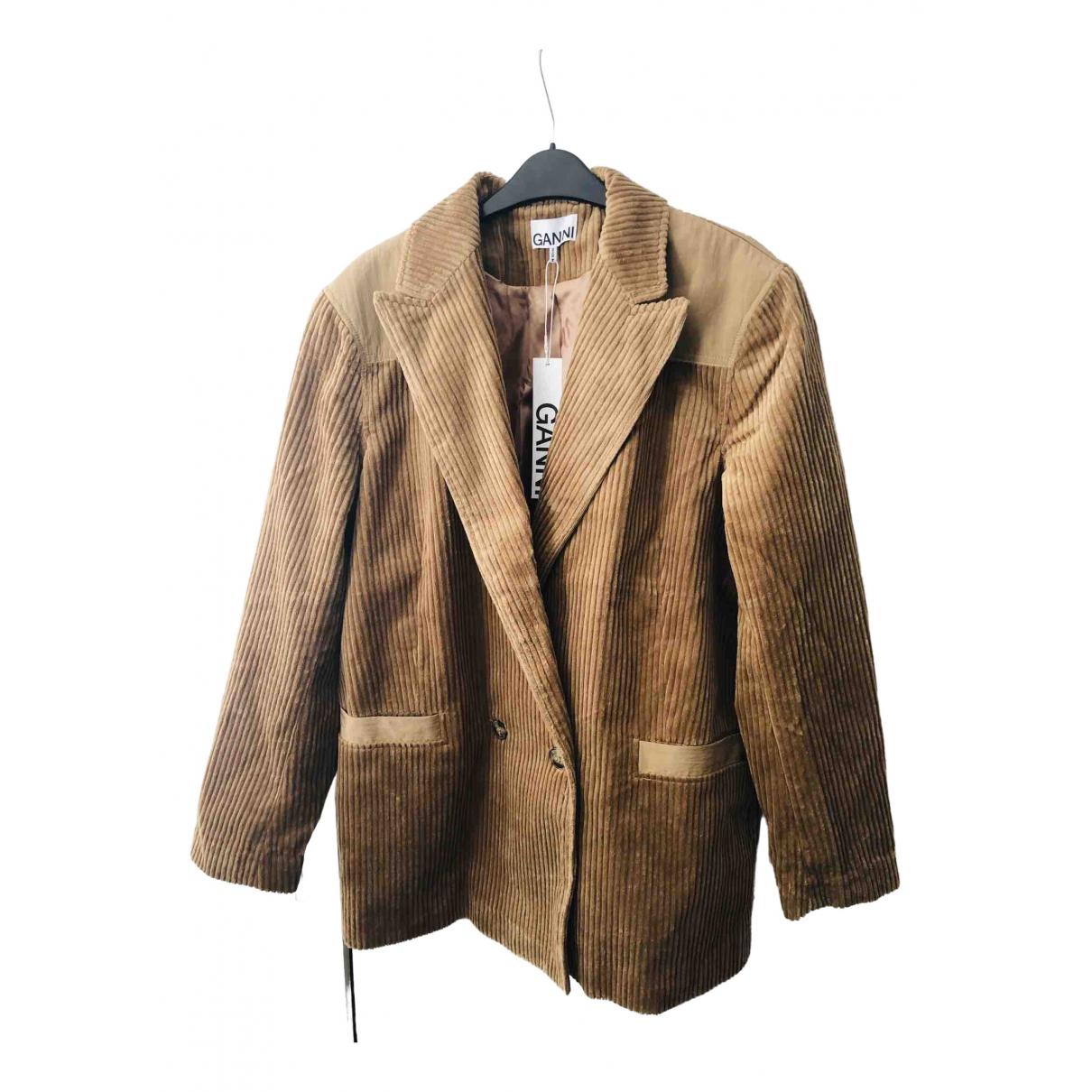 Ganni - Veste   pour femme en coton - beige