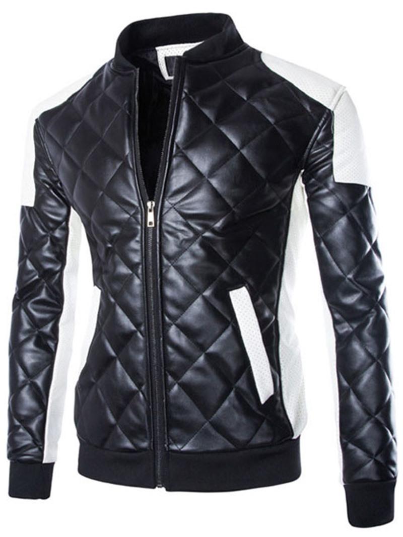 Ericdress Plus Size Color Block PU Jacket