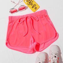 Neon Pink Samt Delphin Shorts mit Knoten