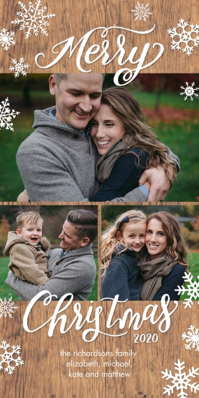 Christmas Photo Cards Flat Matte Photo Paper Cards with Envelopes, 4x8, Card & Stationery -2020 Christmas Snowflakes Collage by Tumbalina