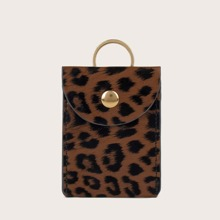 Leopard Print Snap Button Purse