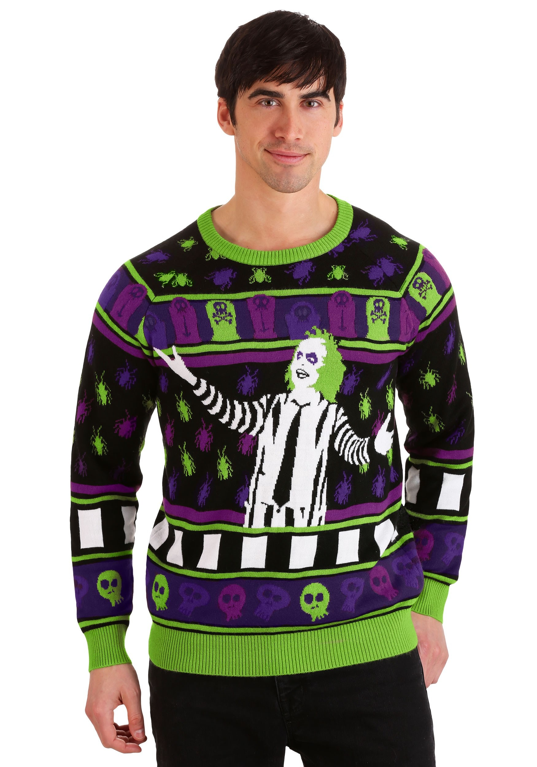 Beetlejuice It's Showtime! Ugly Halloween Sweater for Adults