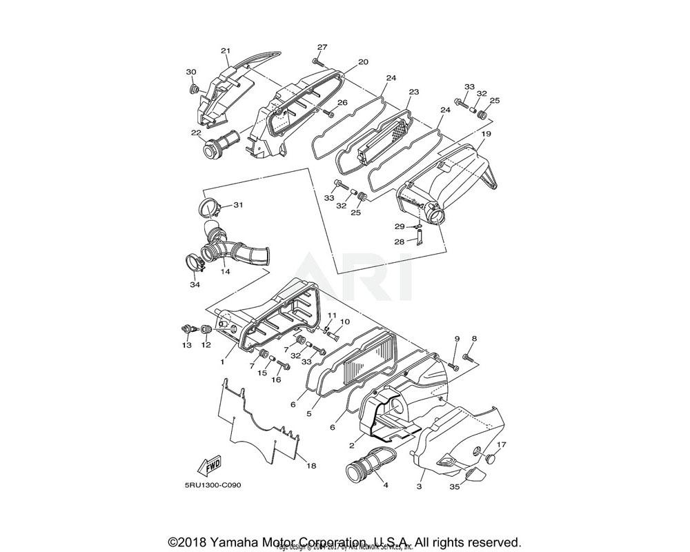 Yamaha OEM 5RU-14421-30-00 CASE, AIR CLEANER 2