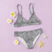 Girls Leopard Print Bikini Swimsuit