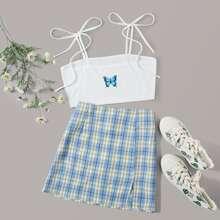 Top de tirantes con estampado de mariposa de hombros con cordon con falda linea A de cuadros de tartan