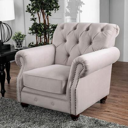 Tamika Collection CM6577-CH-PK Chair with Bold Rolled Arms  Modern Victorian Style  Individually Attached Nailheads and Flannelette in