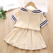 Toddler Girls Striped Blouse & Skirt