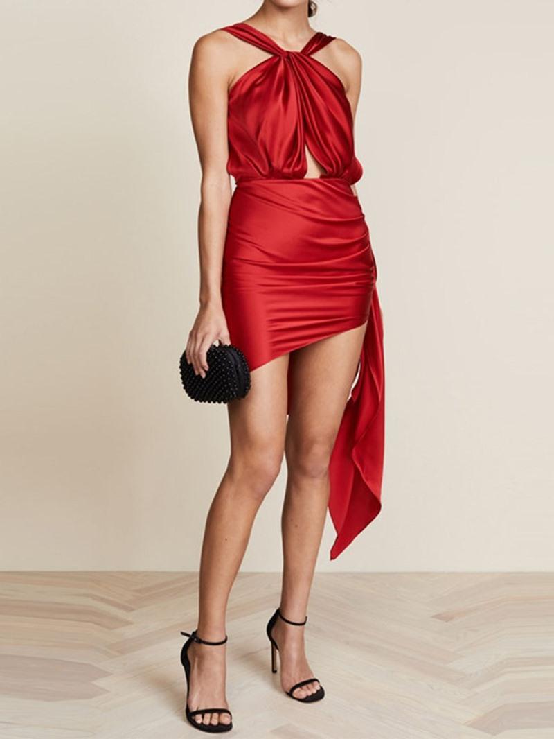 Ericdress Backless Sleeveless Above Knee Halter Mid Waist Dress