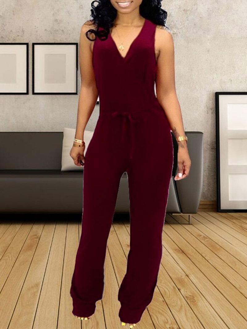 Ericdress Plain Lace-Up Full Length Loose Women's Jumpsuit