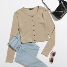 Button Front Rib-knit Tee