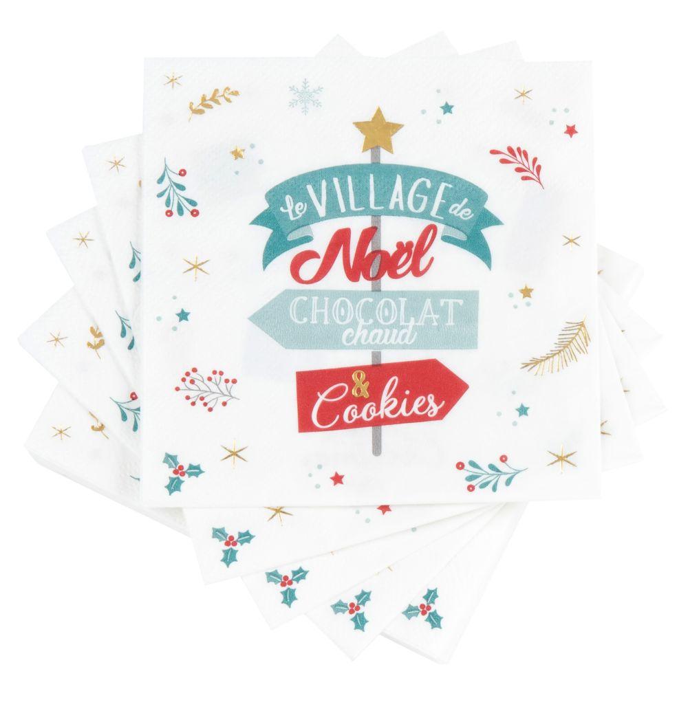 Papierservietten, bedruckt mit Weihnachtsschildern (x20)