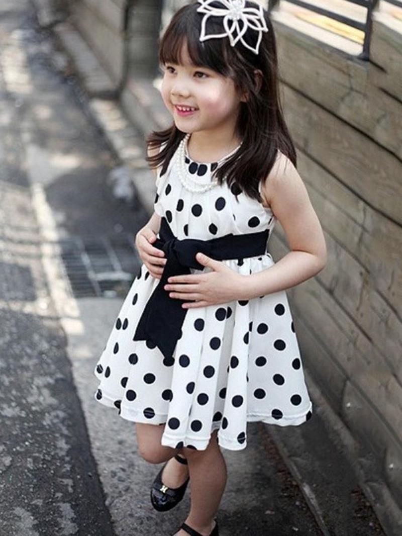 Ericdress Polka Dots Printed Bowknot Sleeveless Girl's Casual Dress