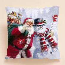 Santa Claus Print Cushion Cover Without Filler