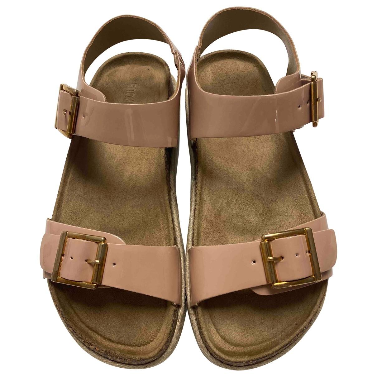 - Sandales   pour femme en cuir verni - rose