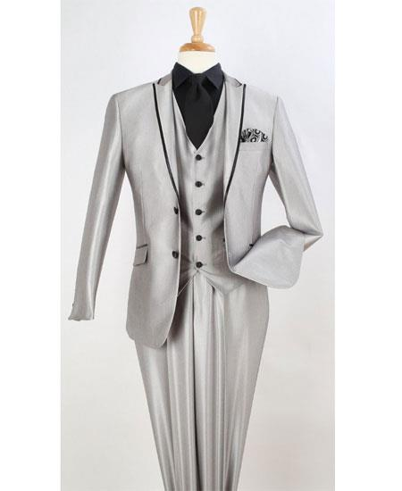 Mens Two Toned Fashion Light Gray Trim Wedding Tuxedo Vested 3 Pieces