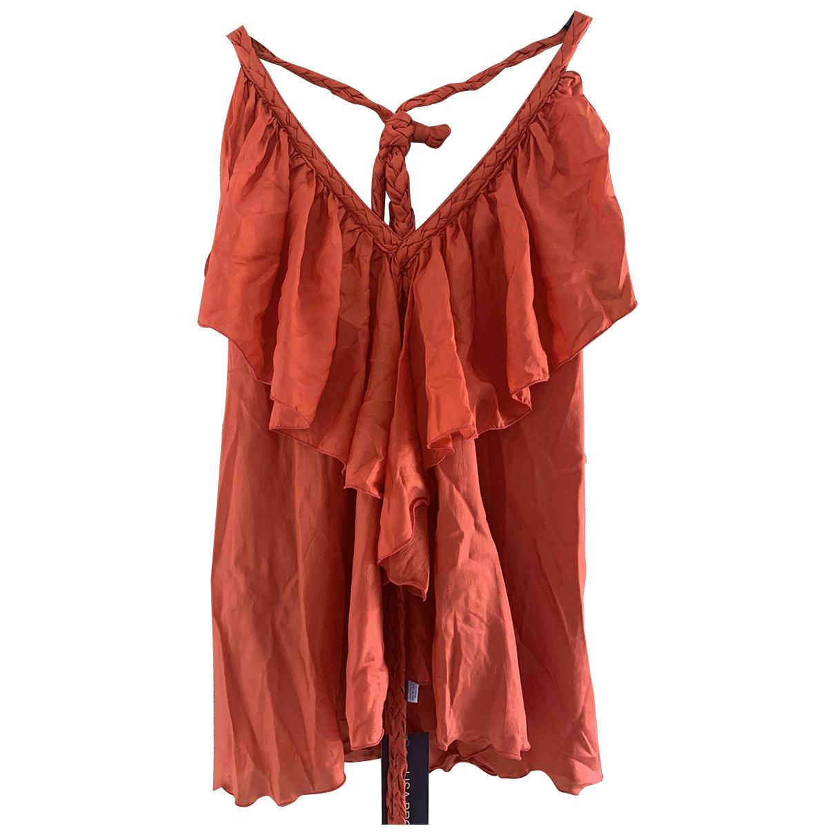 - Top   pour femme en soie - orange