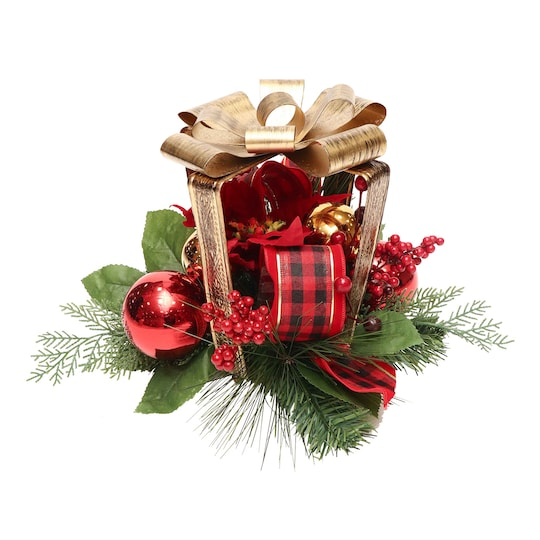 Poinsettia & Berry Gift Box Table Décor By Ashland® | Michaels®