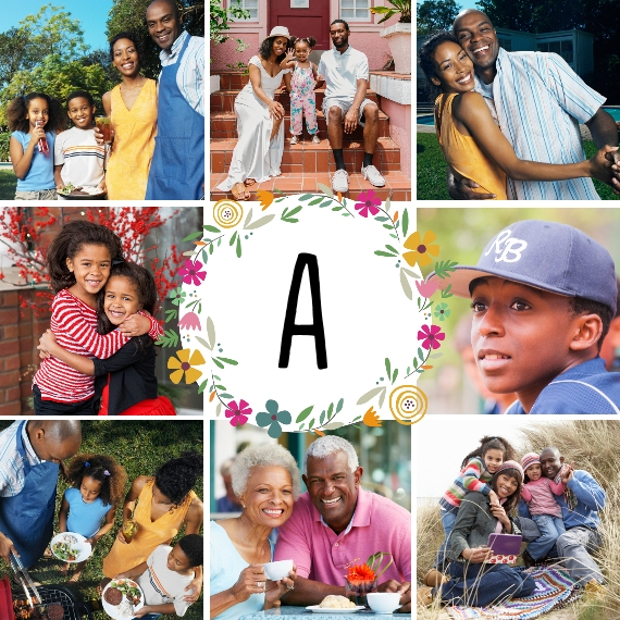 Family + Friends 8x8 Designer Print - Glossy, Prints -Monogram Flower Wreath