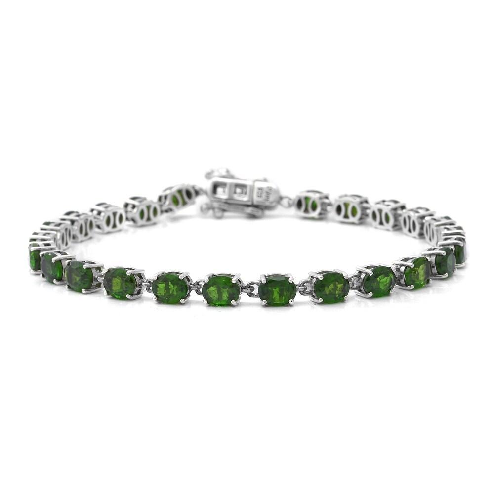 925 Silver Chrome Diopside Tennis Bracelet Size 6.75 In Ct 8.3 - Bracelet 6.75'' (Diopside - Green - Green - Bracelet 6.75'')