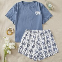 Schlafanzug Set mit Elefant Muster und Rueschenbesatz