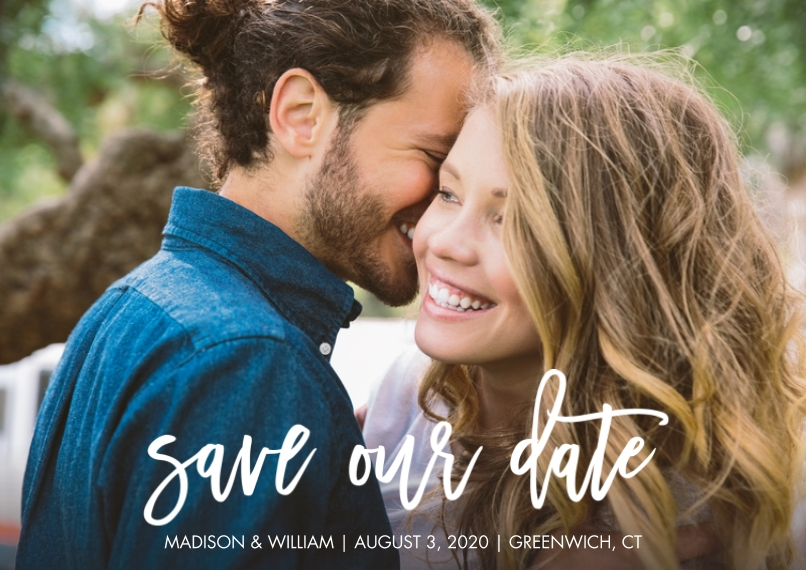 Save the Date Flat Glossy Photo Paper Cards with Envelopes, 5x7, Card & Stationery -Save the Date Script Simple