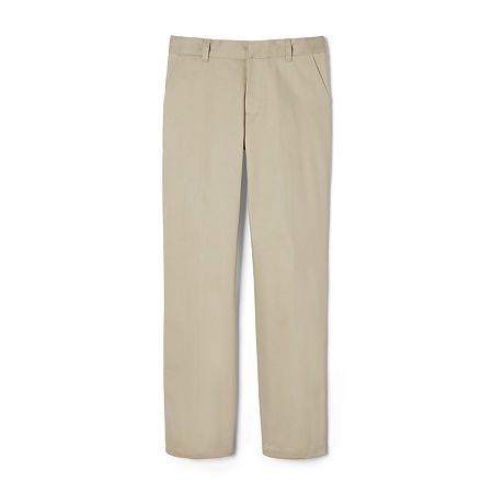 French Toast Big Boys Straight Flat Front Pant, 14 Husky , Brown