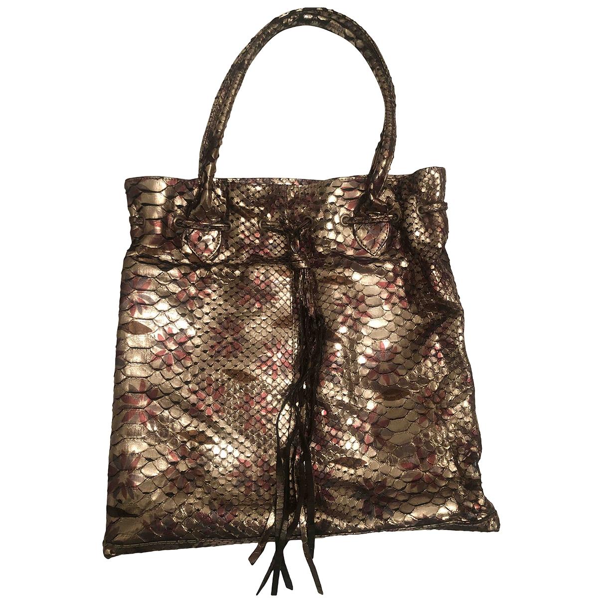 Non Signé / Unsigned \N Metallic Python handbag for Women \N