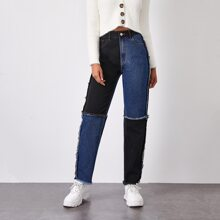 Jeans mit hoher Taille und Cut and Sew