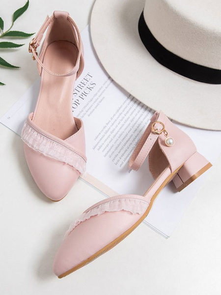 Milanoo Sweet Lolita Footwear Pink Ruffles Round Toe PU Leather Lolita Pumps