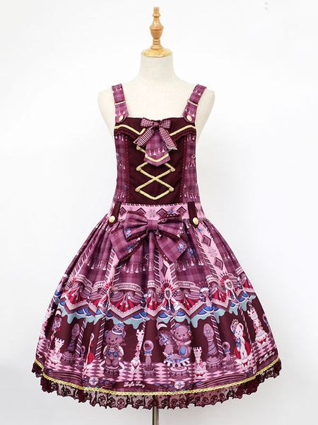 Milanoo Classic Lolita JSK Jumper Skirt Neverland Bear Printed Pleated Fuchsia Lolita Dresses Original Design