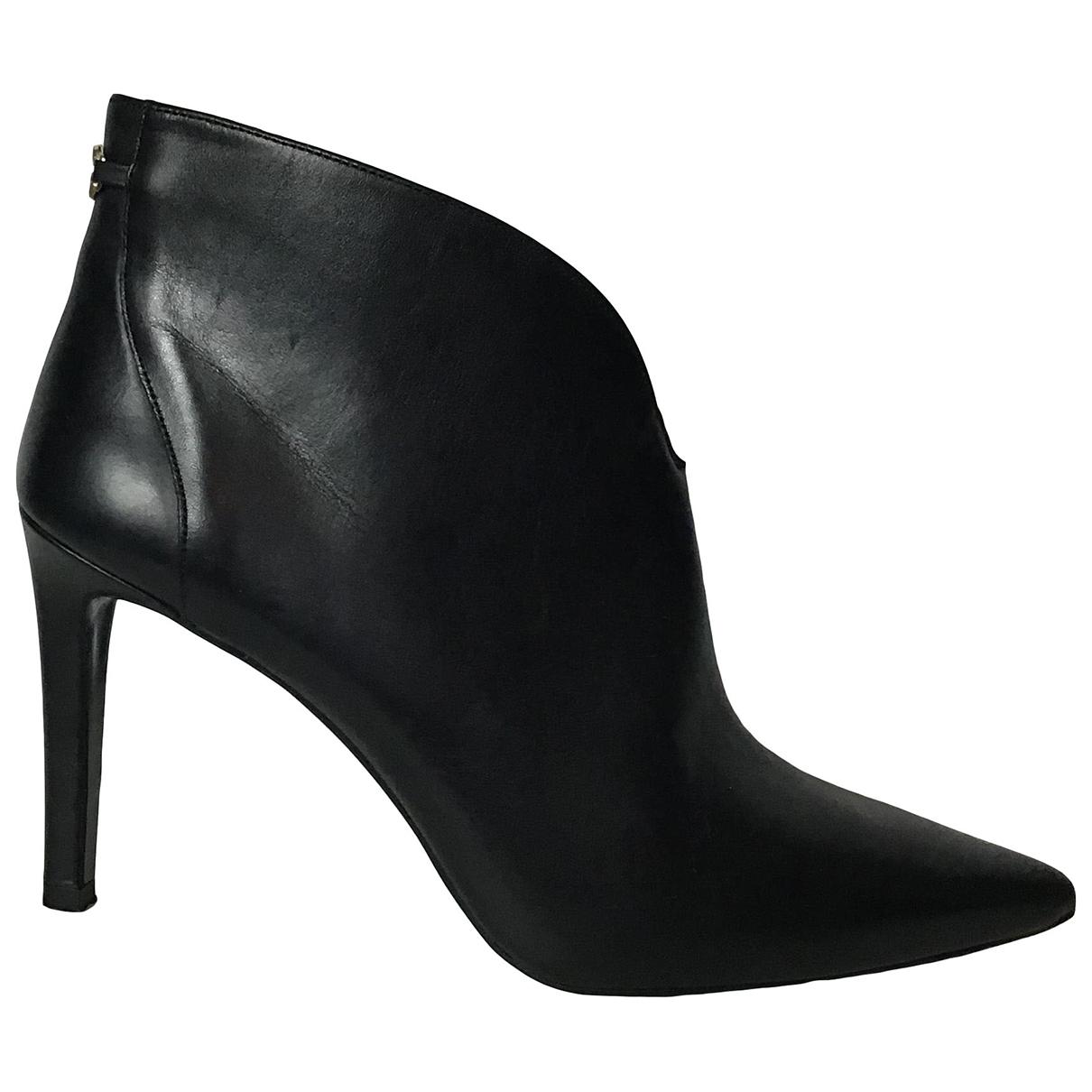 Tommy Hilfiger - Boots   pour femme en cuir - noir