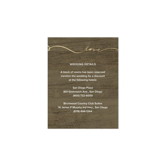 20 Pack of Gartner Studios® Personalized Love Script Foil Wedding All Purpose Card in Light Brown | 4.25